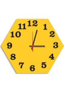 Relógio De Parede Decorativo Premium Hexagonal Amarelo Com Números Em Relevo Médio