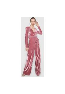 Macacão Lez A Lez Pantalona Veludo Com Faixa Rosa