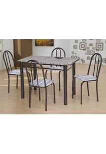 Conjunto De Mesa Com 4 Cadeiras Sara Craqueado Preto E Linho