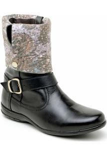 Bota Atron Shoes Cano Dobrável - Feminino-Preto