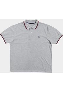 Camisa Polo Broken Rules Plus Size Bordado Masculina - Masculino-Cinza Claro
