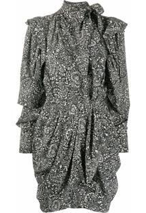 Isabel Marant Vestido Bruna Com Drapeado E Estampa Paisley - Preto