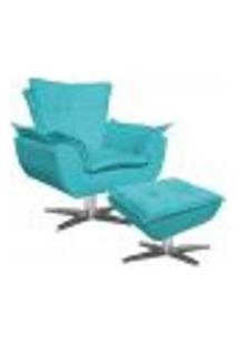 Poltrona Decorativa Base Giratória Cromada Com Puff Opla Suede Azul Tiffany- Ibiza
