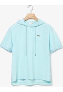 Camisa Polo Lacoste Com Capuz Feminina - Feminino-Azul Claro