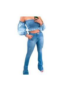 Calça Jeans Flare Com Bolsos Faca Azul