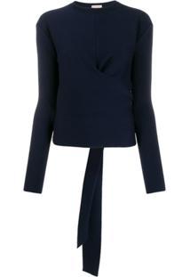 Mrz Suéter De Tricô Com Amarração Posterior - Azul