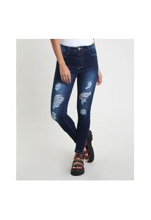 Calça Jeans Feminina Sawary Skinny Pull Up Cintura Alta Destroyed Azul Escuro