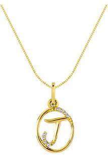 Pingente Letra J Ouro Amarelo E Diamantes 15 Mm