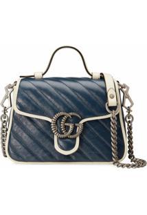 Gucci Bolsa De Mão Mini Gg Marmont - Azul