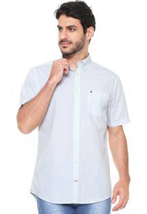 Camisa Tommy Hilfiger Reta Houndstooth Branca/Azul