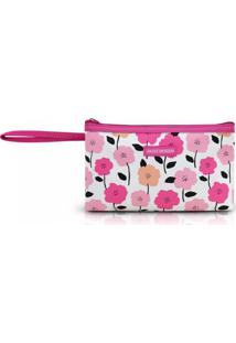Necessaire Com Alça Tam. P Estampa Flores Jacki Design Pink Lover Pink