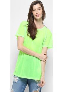 Camiseta Coca-Cola Alongada Manga Curta Feminina - Feminino-Verde Escuro