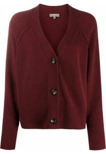 N.Peal Cardigan Gola V Com Costura Exposta - Vermelho