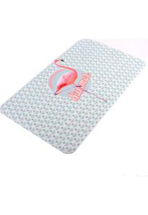 Tapete De Flamingo 75X45Cm Poliéster Coisas E Coisinhas