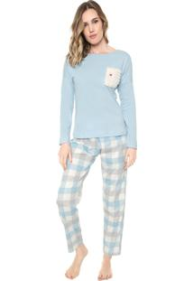 Pijama Pzama Bolso Pelo Azul