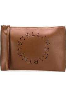 Stella Mccartney Clutch Com Logo - Marrom