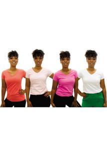 Kit 4 Camisetas Feminina Baby Look Gola V Blusinha Lisa