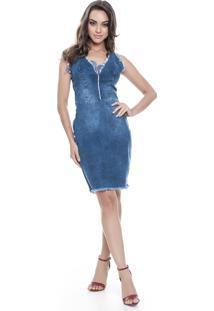 Vestido Jeans Lemier Jeans Collection Acinturada Azul