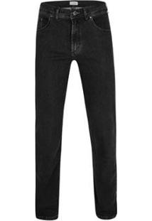Calça Jeans Pierre Cardin Malha Denim Masculina - Masculino-Preto