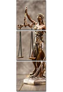 Quadro 150X50Cm Estátua Bronze Advocacia Justiça Balança