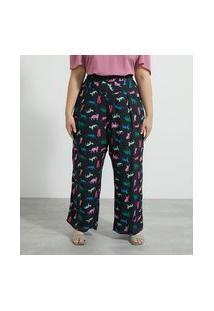 Calça Pantalona Em Viscose Estampa Gatinhos Curve & Plus Size
