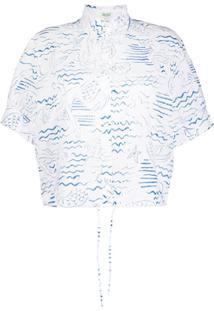 Kenzo Blusa De Renda Com Estampa De Oceano - Branco