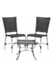Jogo Cadeiras 2Un E Mesa De Centro Romenia Para Edicula Jardim Area Varanda Descanso - Preto