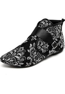 Bota Dafiti Shoes Jacquard Preto