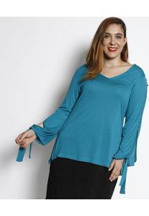 Blusa Com Amarração- Verde Água- Cotton Colors Extracotton Colors Extra