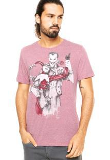 Camiseta Fashion Comics Coringa And Arlequina Vinho