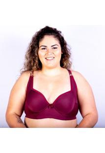Sutiã Plus Size Jam Lingerie Bojo Gatria Reforçado Feminino - Feminino-Vinho