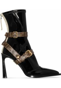 Fendi Ankle Boot Preta Com Salto 105Mm - Preto