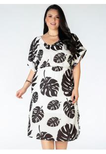 Vestido Plus Size Estampado Folhas