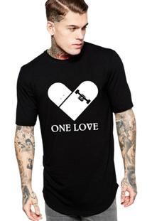 Camiseta Criativa Urbana Long Line Oversized One Love Skate - Masculino