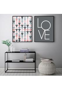 Quadro Oppen House 70X100Cm Love Escandinavos Decoração Triângulos Frases Decorativo Interiores Sala De Estar Quartos Moldura Preta Com Vidro