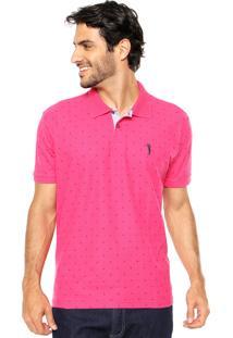 Camisa Polo Aleatory Estampada Rosa