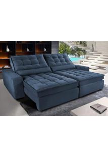 Sofá Retrátil E Reclinável Com Molas Ensacadas Cama Inbox Gold 2,32M Tecido Suede Velusoft Azul