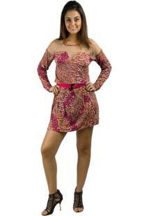 Vestido Banna Hanna Visco Estampado Coral - Feminino-Estampado