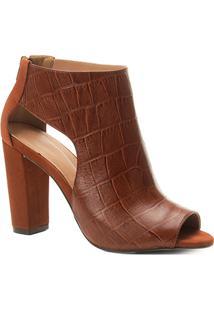 Ankle Boot Couro Shoestock Salto Grosso Croco Feminina - Feminino-Caramelo