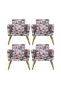 Conjunto 4 Poltronas Decorativa Nina Triângulo Rosa - Bela Casa Shop