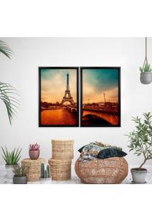 Quadro Com Moldura Chanfrada Paris Envelhecido Preto - Mã©Dio - Multicolorido - Dafiti