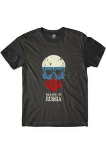 Camiseta Bsc Caveira País Rússia Sublimada Masculina - Masculino-Preto