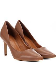 Scarpin Couro Shoestock Salto Alto Bico Fino - Feminino