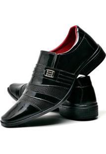Sapato Social Top Flex Verniz Masculino - Masculino-Preto
