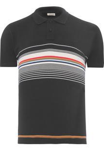 Polo Masculina Multicolor Stripes - Preto