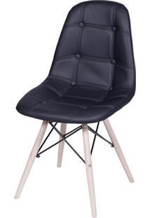 Cadeira Eames Botone Preta Base Madeira - 32074 - Sun House