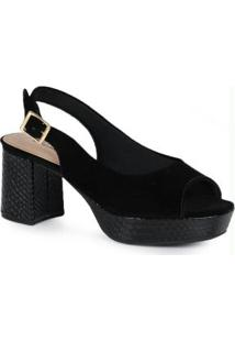 Sandália Salto Conforto Modare Preto