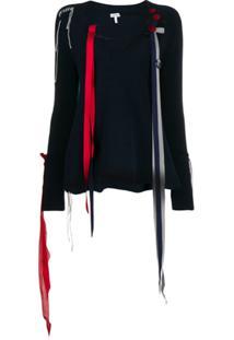 Loewe Suéter Com Detalhe De Listra E Decote V - Azul