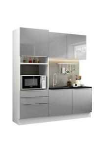 Cozinha Compacta Madesa Lux Com Armário E Balcão 5 Portas 3 Gavetas Branco/Cinza Branco
