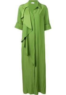 Lanvin Chemise Drapeada Com Babados - Verde